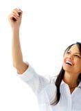 Businesswoman holds felt tip pen Royalty Free Stock Photo