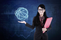 Businesswoman holds global business connection stock photography