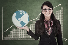 Businesswoman hold global profit Stock Photos