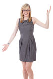 Businesswoman holds her arms wide open Royalty Free Stock Photos