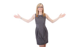 Businesswoman holds her arms wide open Royalty Free Stock Photography