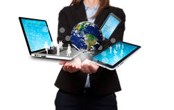 Businesswoman holds modern technology in hands - Stock Image Royalty Free Stock Photos