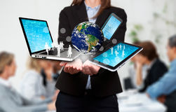 Businesswoman holds modern technology in hands - Stock Image Royalty Free Stock Image