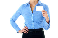 Businesswoman holds white card, isolated on white Royalty Free Stock Images