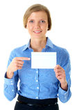 Businesswoman holds white card, isolated on white Stock Images