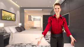 Businesswoman in a Hotel Royalty Free Stock Photos