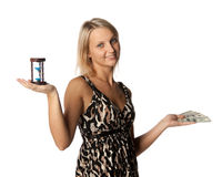 Businesswoman with hourglass and money Stock Photos