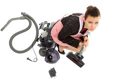 Businesswoman and housewife tired - universal super woman Stock Photos