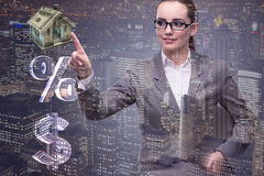 The businesswoman in housing mortgage concept Royalty Free Stock Photos