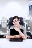 Businesswoman hug laptop at office Stock Images
