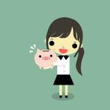 Businesswoman hug piggy bank. Businesswoman hug full piggy bank with happy emotion on green background Royalty Free Stock Photos