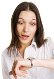 Businesswoman in a hurry. White background Royalty Free Stock Photos