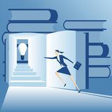 Businesswoman and idea. Business concept of idea and knowledge, businesswoman runs up the stairs in the book to find an idea Royalty Free Stock Photos