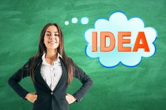 Businesswoman with idea on chalkboard background stock images