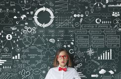 Businesswoman idea concept on blackboard royalty free stock images
