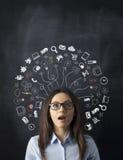 Businesswoman idea concept on blackboard royalty free stock image
