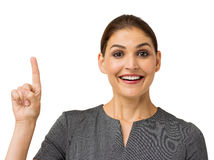 Businesswoman With An Idea Pointing Up Stock Photography