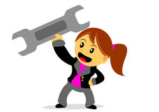 Businesswoman. Illustration of businesswoman cartoon character with her activity Royalty Free Stock Images