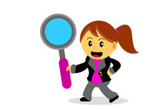 Businesswoman. Illustration of businesswoman cartoon character with her activity Royalty Free Stock Image
