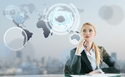 Businesswoman imagine of globalization Stock Photos