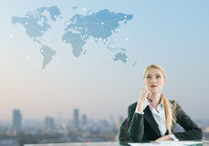 Businesswoman imagine of globalization Stock Images
