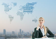 Businesswoman imagine of globalization business concept Royalty Free Stock Photos