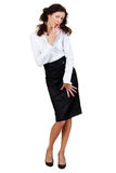 Businesswoman In A Blouse And Skirt Royalty Free Stock Image