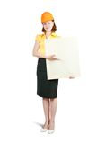 Businesswoman In Hardhat Holding Banner Royalty Free Stock Images