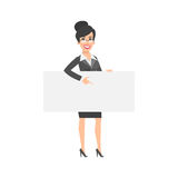 Businesswoman indicates on empty nameplate Royalty Free Stock Photography