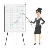 Businesswoman indicates on flip chart and smiling Stock Image