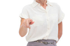 Businesswoman indicating something with finger Royalty Free Stock Photo