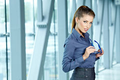 Businesswoman inside a modern house Stock Image