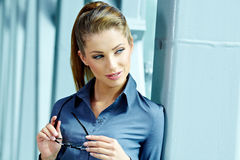 Businesswoman inside a modern house Stock Photography