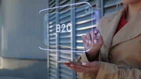Businesswoman interacts HUD B2C