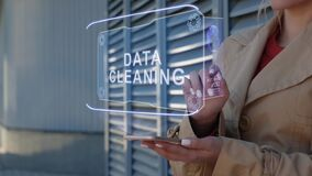 Businesswoman interacts HUD Data cleaning