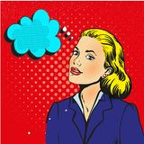 Businesswoman interested in communicating pop art retro style.  Stock Image