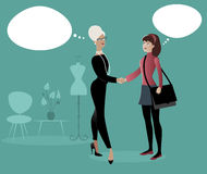 Businesswoman and intern girl shaking hands. Fashion business. Cartoon syle. Thinking balloons Stock Photography