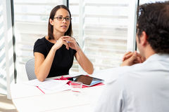 Businesswoman Interviewing Male Candidate Royalty Free Stock Image