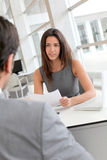 Businesswoman interviewing potential future employee Royalty Free Stock Images