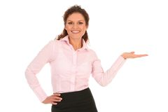 Businesswoman introducing something Stock Photography