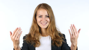 Businesswoman Inviting , Invitation , Portrait, White background. High quality Royalty Free Stock Photos