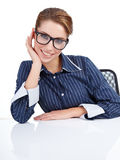 Businesswoman isolated over white background Royalty Free Stock Photo
