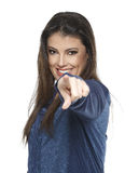 Businesswoman isolated on white background. Woman with blue blouse pointing his finger at the camera Stock Images