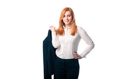 Businesswoman with a jacket in his hands Royalty Free Stock Images