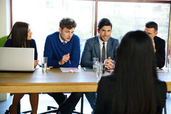 Businesswoman at job interview in office Stock Photos