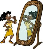 Woman looking at her own strength in the mirror. vector illustration