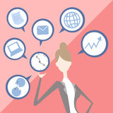 Businesswoman juggling business icons Stock Photography