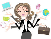 Businesswoman juggling icons Stock Photography