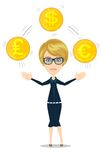 Businesswoman juggling with gold coins Stock Photography