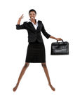 Businesswoman Jumping in the Air Royalty Free Stock Image